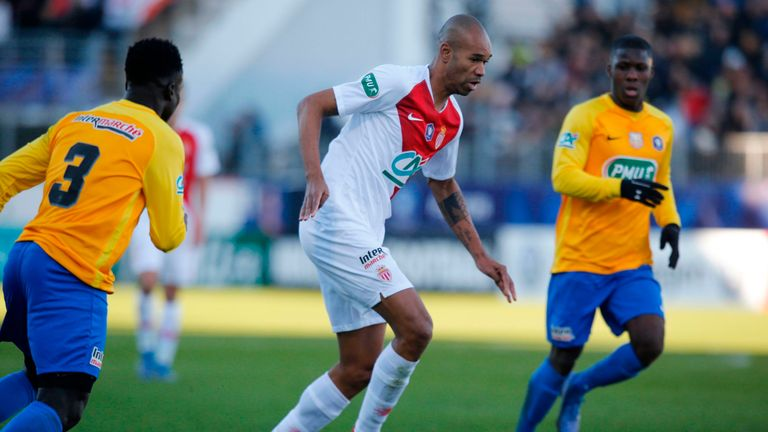 Naldo was sent off in Monaco's 2-0 defeat at Dijon