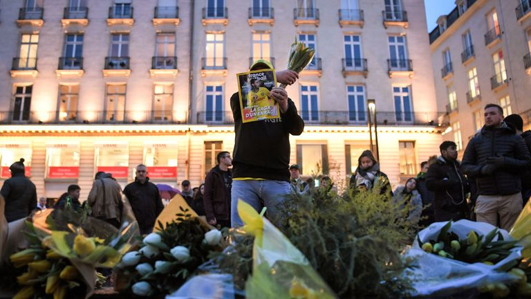 Fans of FC Nantes turn out for a vigil for missing footballer Emiliano Sala.