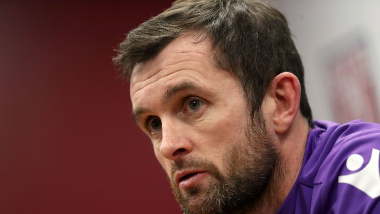 Stoke City's newly appointed manager Nathan Jones speaks to the media for the first time during a press conference at the bet365 Stadium