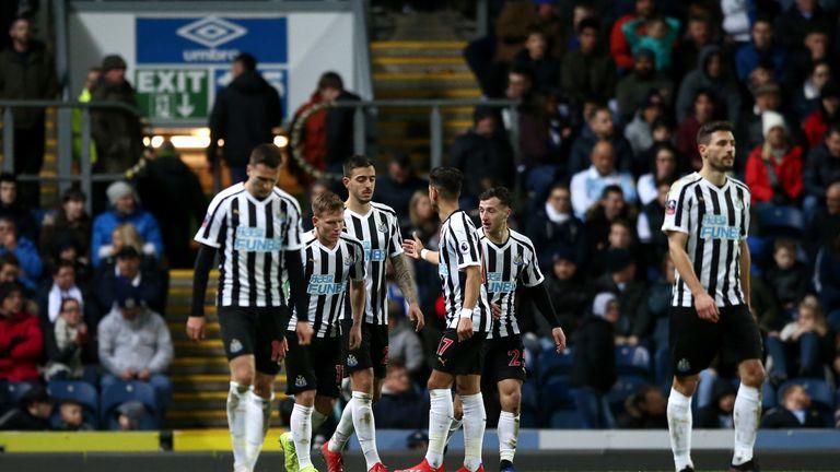 Newcastle celebrate a goal against Blackburn in the FA Cup third round