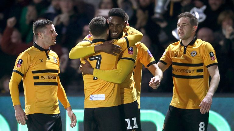 Newport County's Jamille Matt celebrates scoring against Leicester