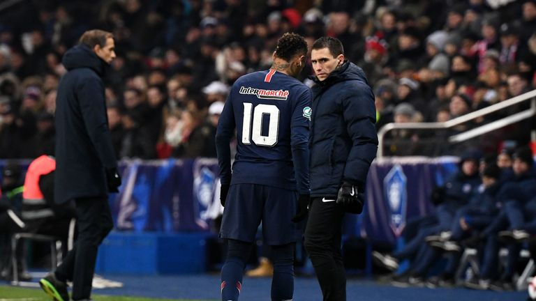 Neymar appeared to be in tears as he promptly walked off
