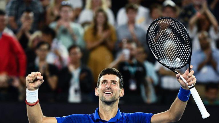 Djokovic celebrates victory over Lucas Pouille in the men's semi-final at the Australian Open