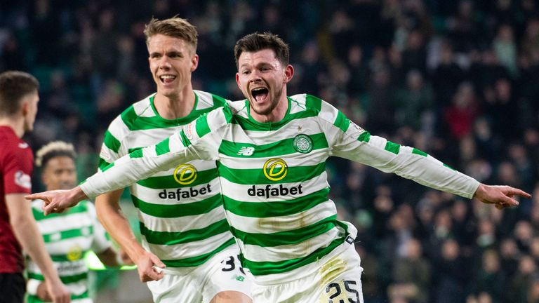 Burke celebrates after opening the scoring for Celtic