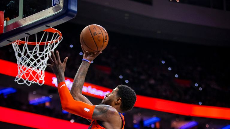 PHILADELPHIA, PA - JANUARY 19: Paul George #13 of the Oklahoma City Thunder goes to the basket against the Philadelphia 76ers on January 19, 2019 at the Wells Fargo Center in Philadelphia, Pennsylvania. NOTE TO USER: User expressly acknowledges and agrees that, by downloading and/or using this photograph, user is consenting to the terms and conditions of the Getty Images License Agreement. Mandatory Copyright Notice: Copyright 2019 NBAE (Photo by Zach Beeker/NBAE via Getty Images)