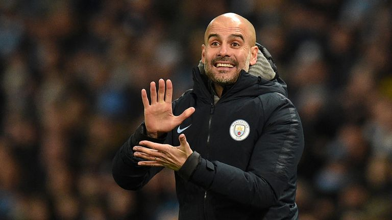 Pep Guardiola gives his side instructions