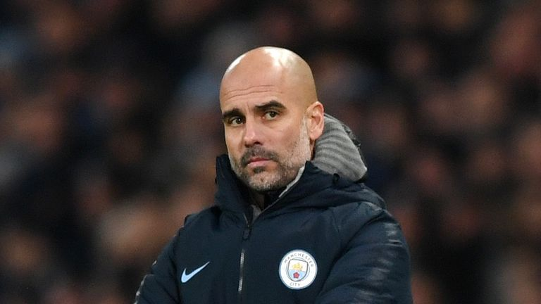 Pep Guardiola during the Premier League match between Manchester City and Liverpool FC at the Etihad Stadium on January 3, 2019 in Manchester, United Kingdom.