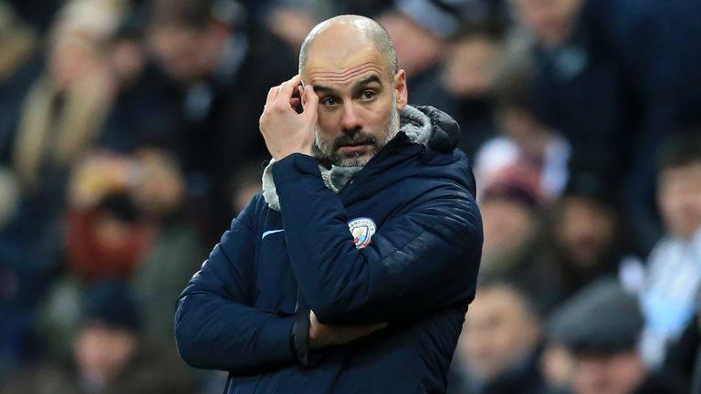 Pep Guardiola during the 2-1 loss to Newcastle United