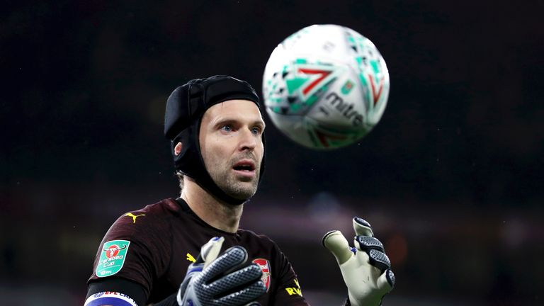 Petr Cech in action during the Carabao Cup, Fourth Round match between Arsenal and Blackpool at Emirates Stadium on October 31, 2018