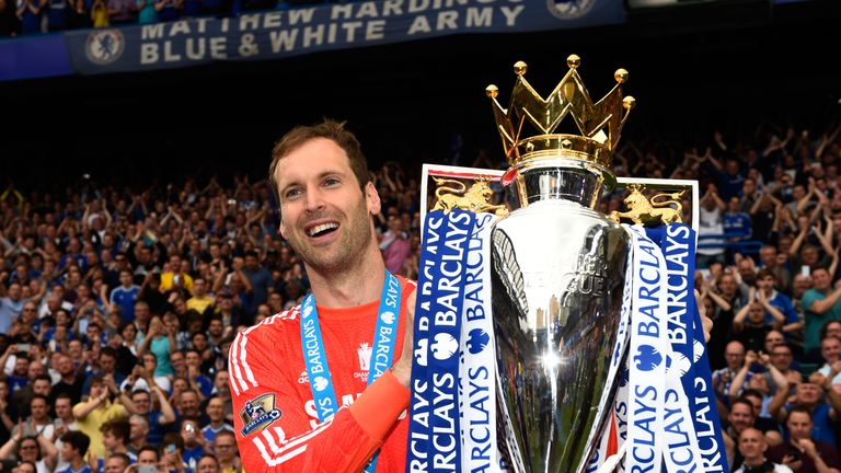 Petr Cech celebrates with the Premier League trophy at Stamford Bridge on May 24, 2015