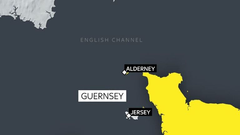 The plane was north of Alderney when it disappeared (credit: Sky News)