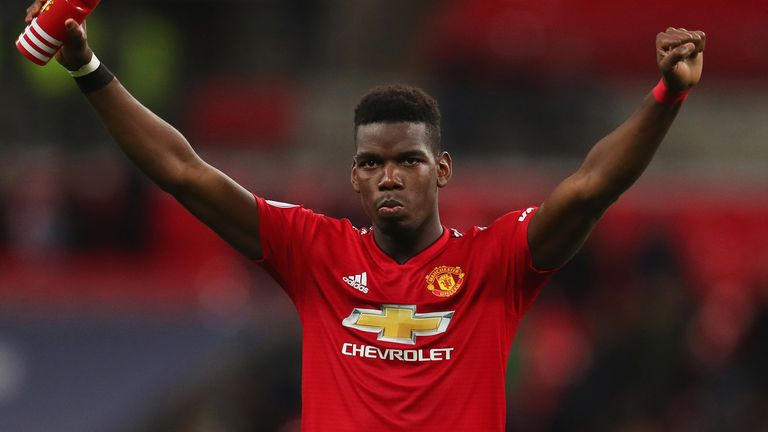 Paul Pogba of Manchester United celebrates victory after the Premier League match between Tottenham Hotspur and Manchester United at Wembley Stadium on January 13, 2019 in London, United Kingdom.