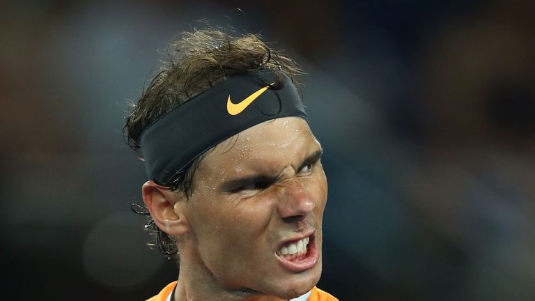 Rafael Nadal of Spain celebrates winning his quarter final match against Frances Tiafoe of the United States during day nine of the 2019 Australian Open at Melbourne Park on January 22, 2019 in Melbourne, Australia.