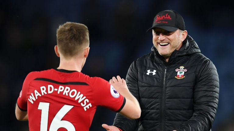 Ralph Hasenhuttl celebrates with goalscorer James Ward-Prowse