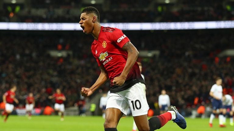 Marcus Rashford celebrates against Tottenham