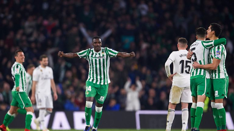 William Carvalho celebrates after the Real Betis equaliser