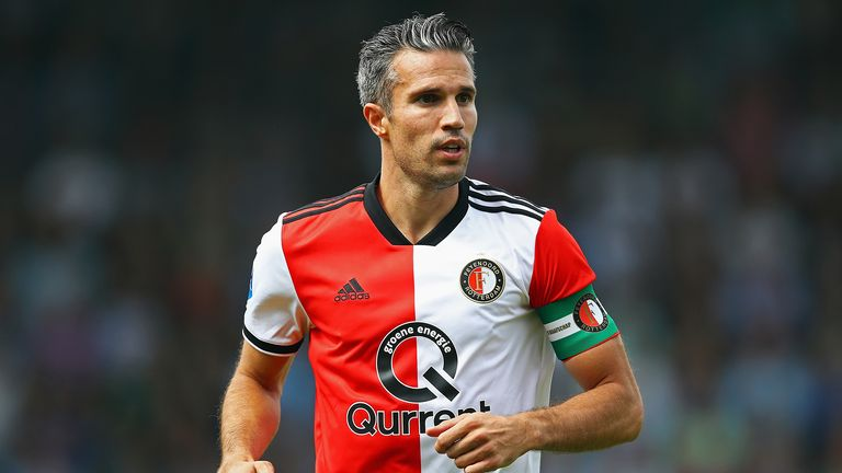 Robin van Persie of Feyenoord looks on during the Eredivisie match between De Graafschap and Feyenoord at Stadion De Vijverberg on August 12, 2018 in Doetinchem, Netherlands