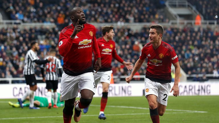 Romelu Lukaku celebrates scoring at St James' Park
