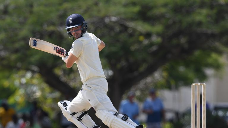 Rory Burns of England plays a shot during day one of the match between West Indies Board XI and England at the Three Ws Oval on January 15, 2019 in Bridgetown, Barbados.