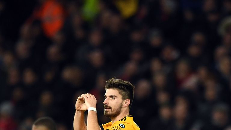 Ruben Neves celebrates scoring his Wolves' second goal during the FA Cup Third Round match against Liverpool at Molineux on January 7, 2019