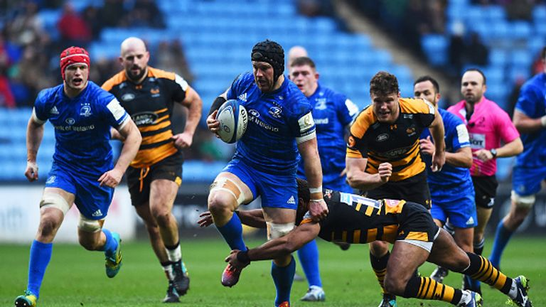 Leinster's Jack Conan attacks during their win over Wasps