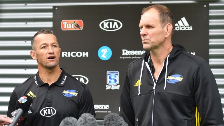 New Hurricanes head coach John Plumtree (right) and has drafted in former All Black Carlos Spencer as his assistant