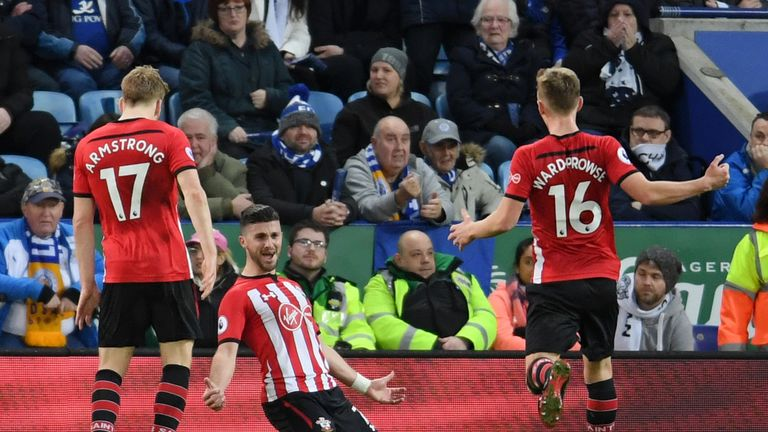 Shane Long celebrates after scoring Southampton's second goal