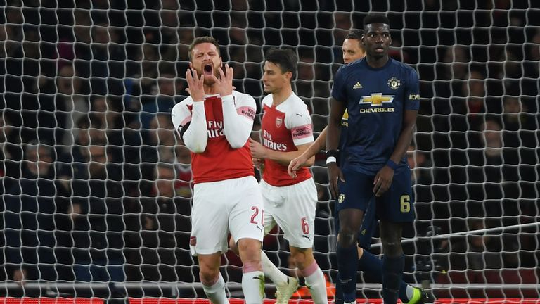 Shkodran Mustafi of Arsenal (20) reacts after a missed chance during the FA Cup Fourth Round match between Arsenal and Manchester United at Emirates Stadium on January 25, 2019 in London, United Kingdom