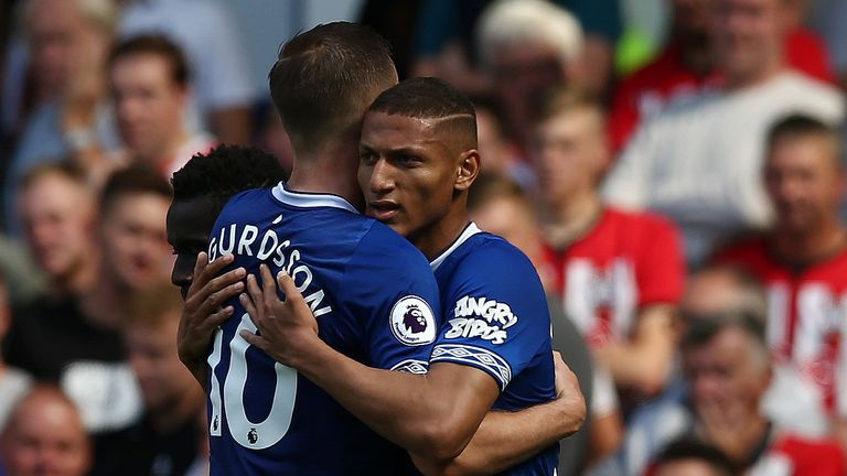during the Premier League match between Everton FC and Southampton FC at Goodison Park on August 18, 2018 in Liverpool, United Kingdom.