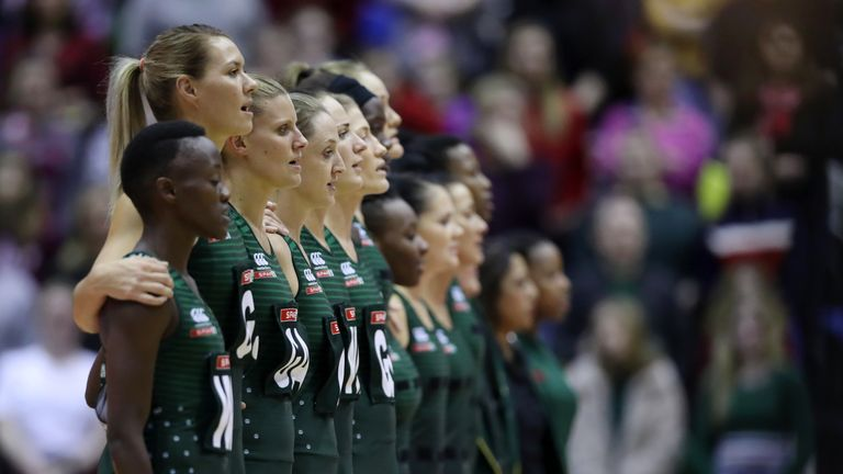 South Africa before their match against England in the Netball Quad Series 2019 in London