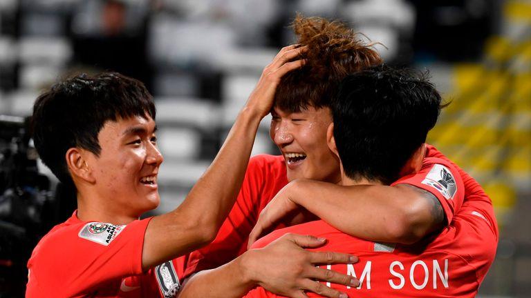 South Korea celebrate scoring