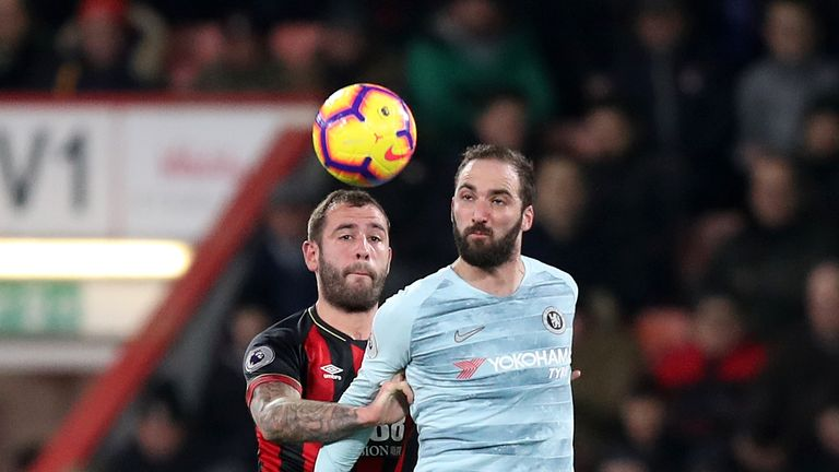 Bournemouth's Steve Cook and Chelsea's Gonzalo Higuain battle for the ball