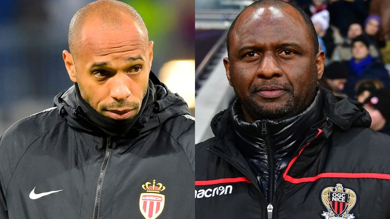 Thierry Henry and Patrick Vieira go head-to-head for the first time as managers when Monaco face Nice in Ligue 1 on Wednesday