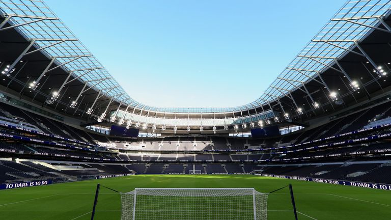 A general view inside the new Tottenham Hotspur Stadium during a fan event on December 15, 2018