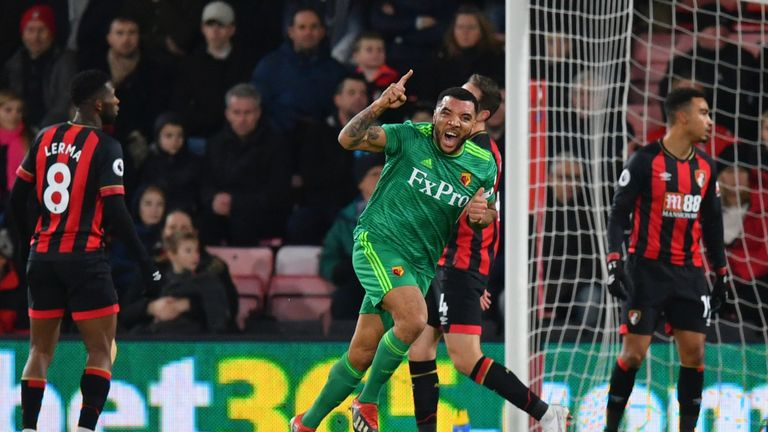 Deeney scored twice in the draw against Bournemouth
