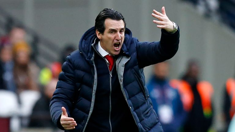 Unai Emery gestures on the touchline