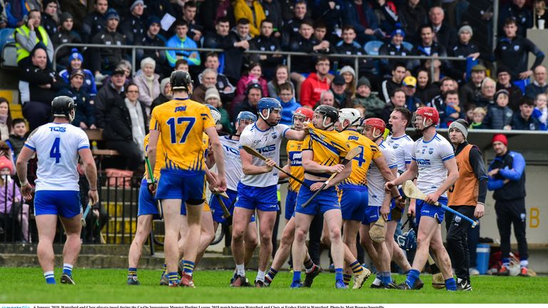 Handbags: Clare and Waterford players clash in the Munster Senior Hurling League