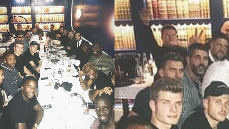 Hennessey, pictured top left, at the team meal on Saturday evening (instagram/maxmeyer95)
