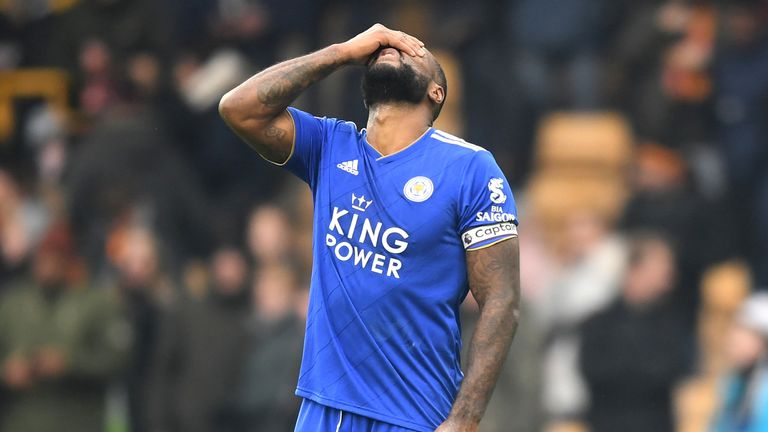 Leicester City captain Wes Morgan looks dejected during the 4-3 loss to Wolves at Molineux