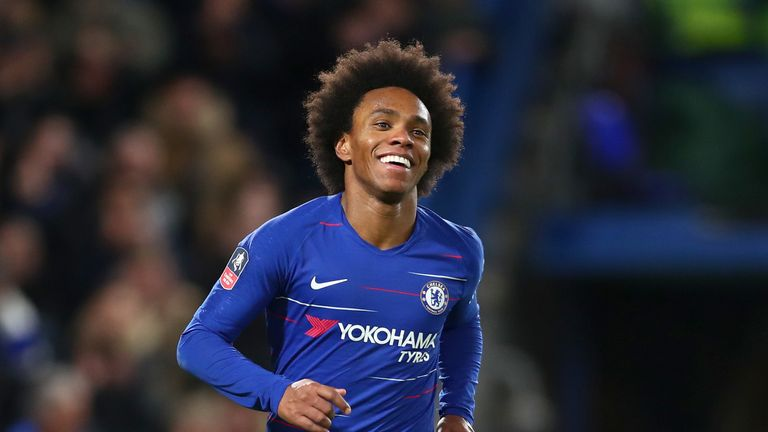 Willian celebrates his goal against Sheffield Wednesday