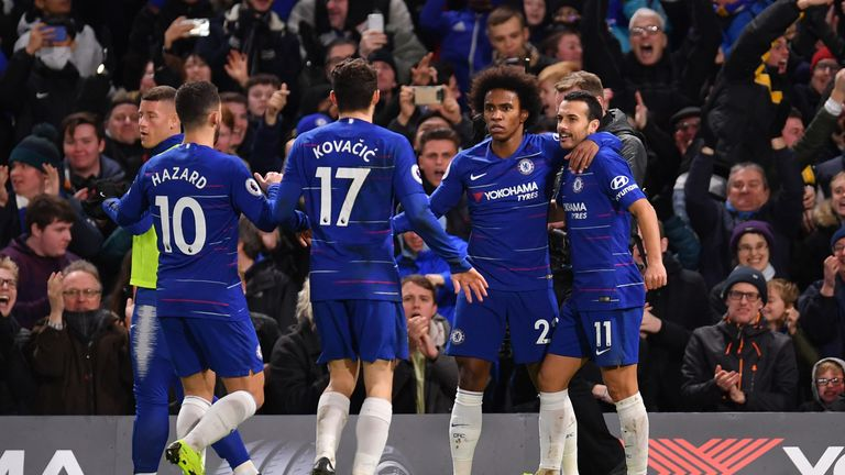 Willian celebrates after putting Chelsea ahead