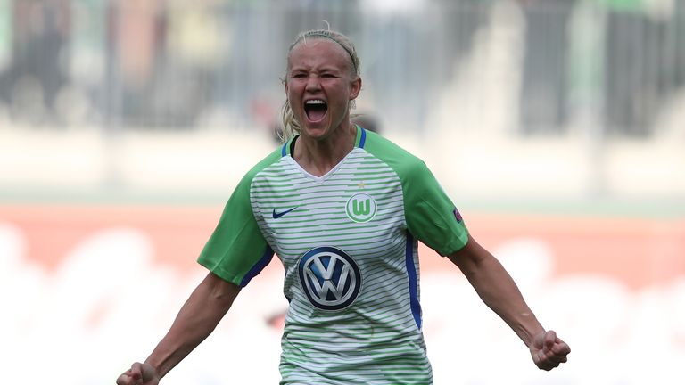 Pernille Harder of Wolfsburg celebrate after her first goal during the Women's UEFA Champions League semi final second leg match between VfL Wolfsburg and FC Chelsea at AOK Stadion on April 29, 2018 in Wolfsburg, Germany.
