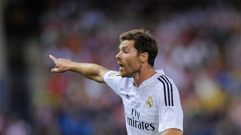 Xabi Alonso at Vicente Calderon Stadium on August 22, 2014 in Madrid, Spain.