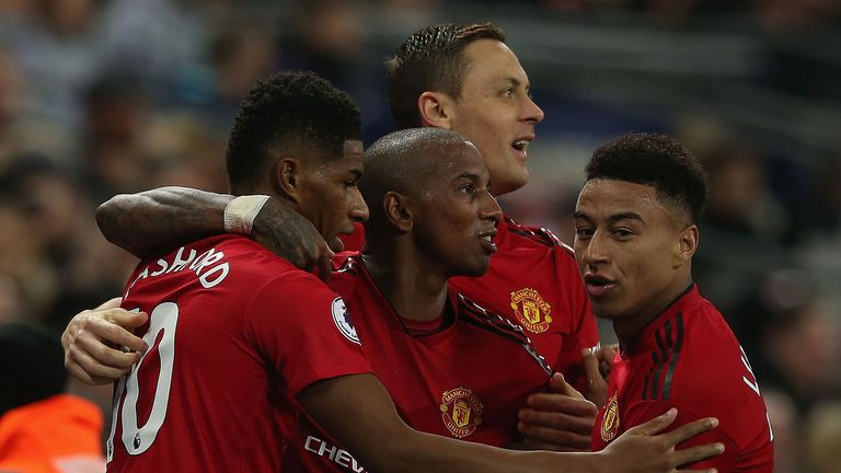 Marcus Rashford of Manchester United celebrates scoring their first goal during the Premier League match between Tottenham Hotspur and Manchester United at Wembley Stadium on January 13, 2019 in London, United Kingdom.