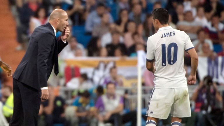 James struggled for game time under Zinedine Zidane
