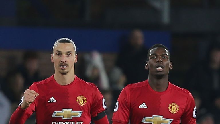 Zlatan Ibrahimovic and Paul Pogba in action