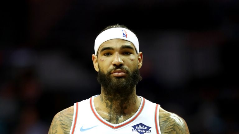 Sacramento Kings center Willie Cauley Stein faces down a photographer