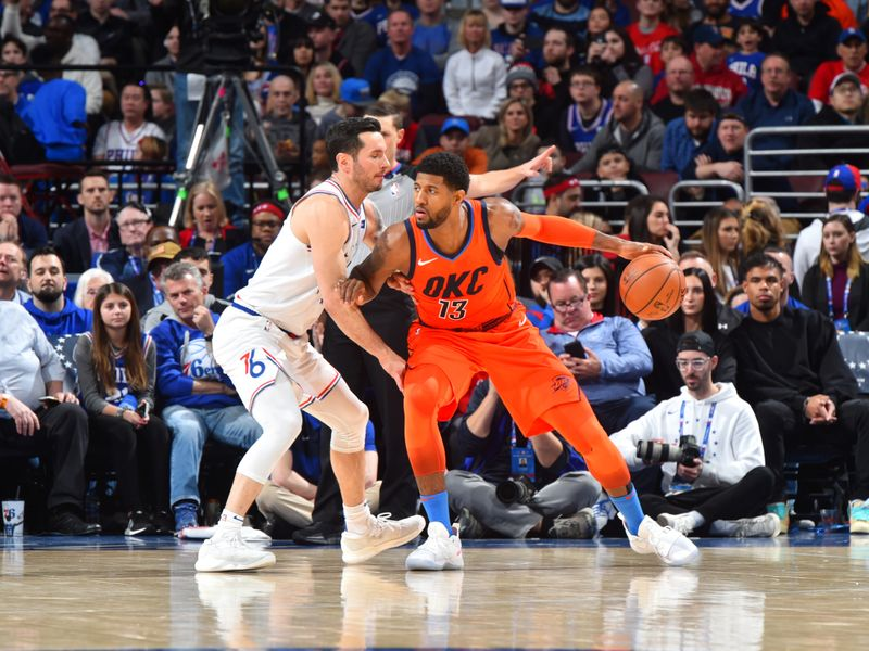 07d3bf4f5cd Oklahoma City Thunder continue winning streak over Philadelphia 76ers after  Paul George s late showing