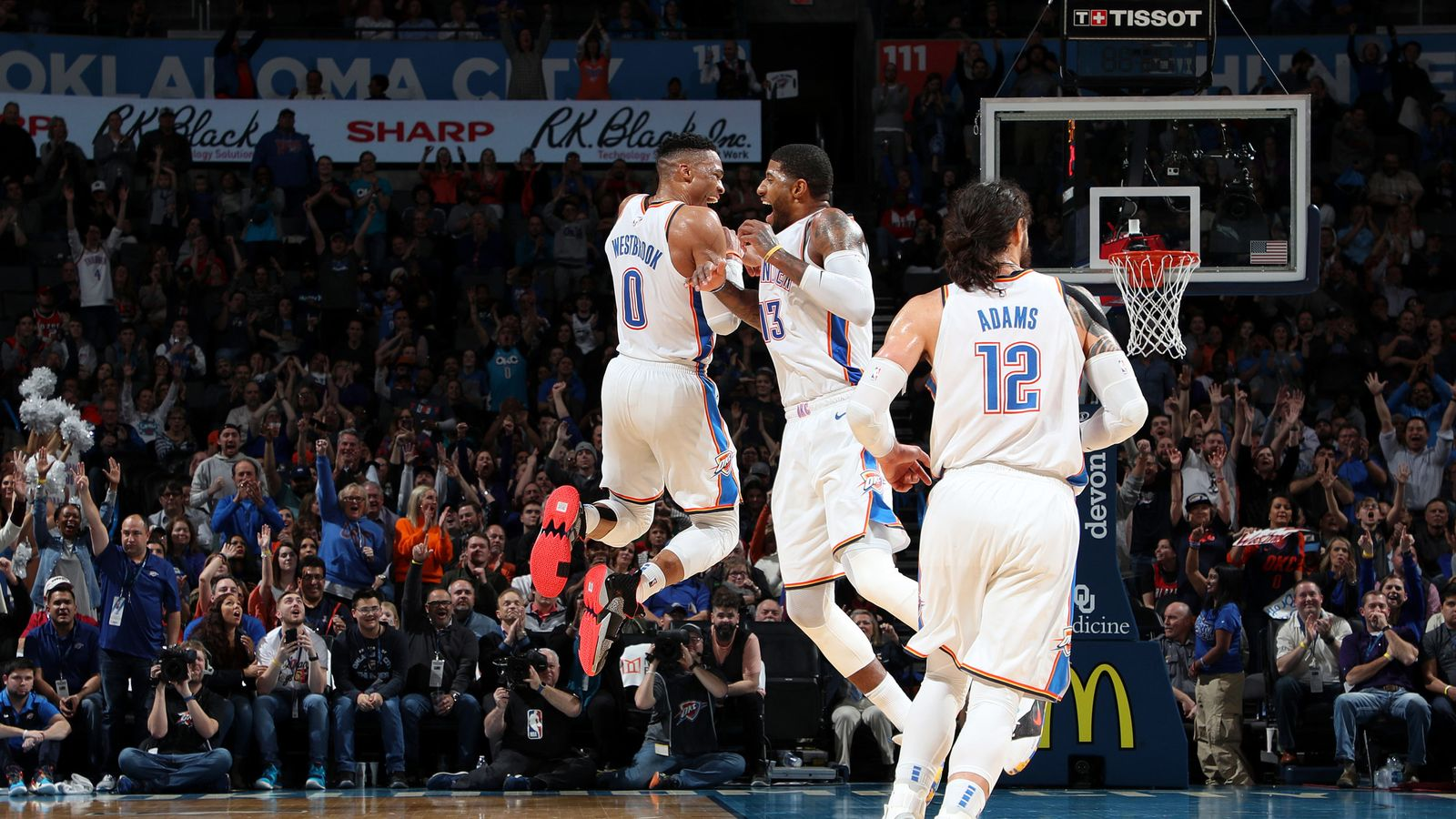 Russell Westbrook And Paul George Post Triple Doubles To