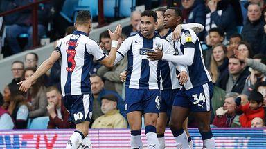 Hal Robson-Kanu celebrates scoring West Brom's first goal against Aston Villa
